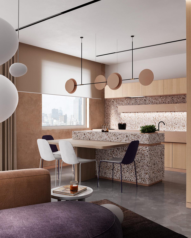 温暖淡雅的米色 2套现代风格公寓设计