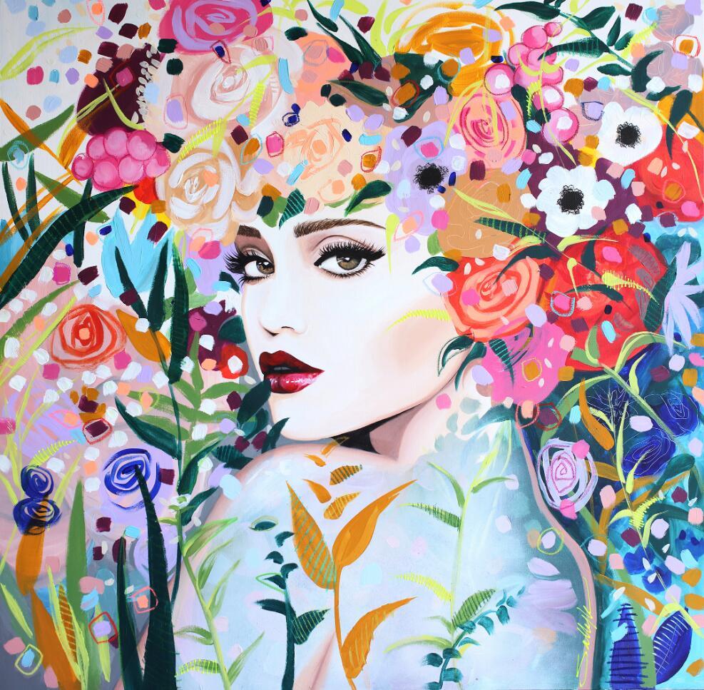 美丽的花卉与女人 Sally K插画作品欣赏