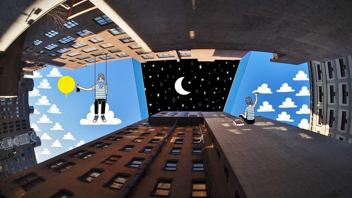 天空作为画布 Thomas Lamadieu仰望天空的创意插画