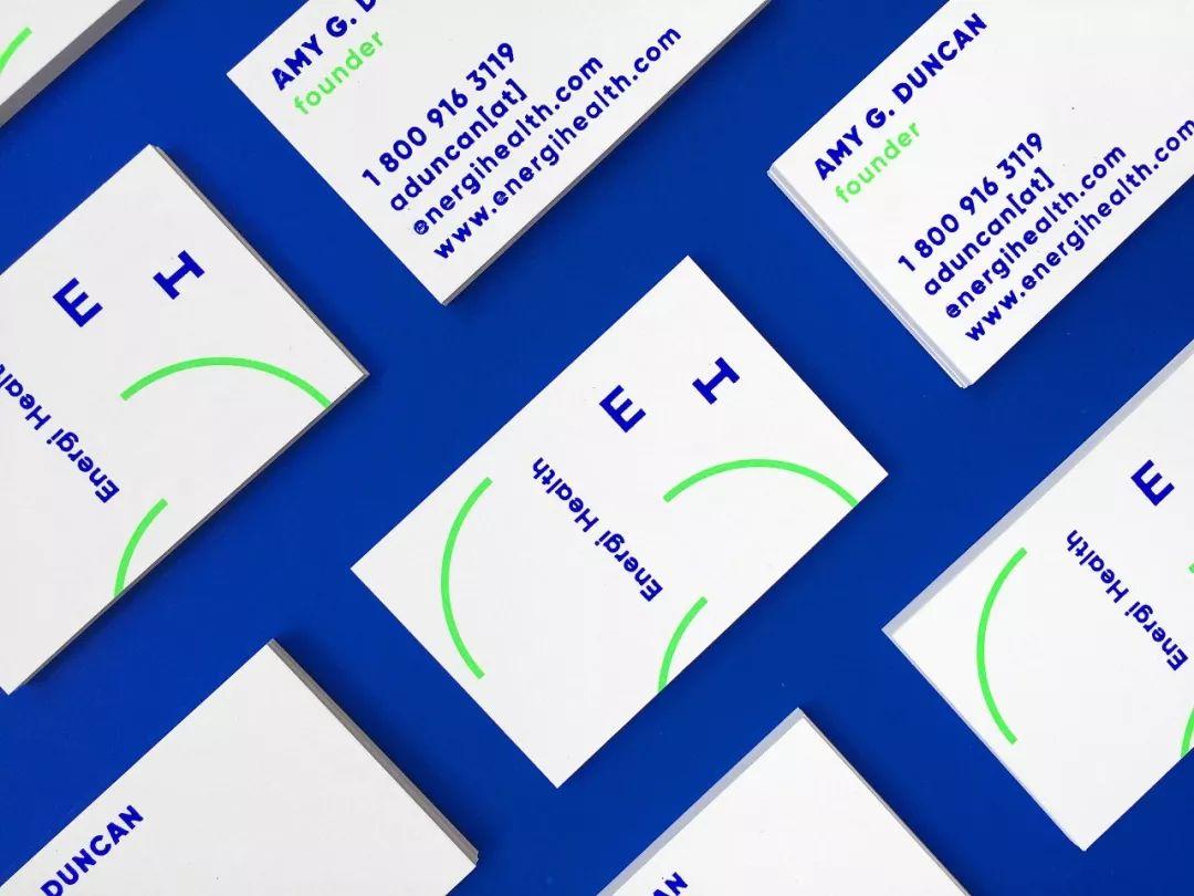 充满活力感的荧光绿与蓝:健身品牌Energi Health视觉形象设计