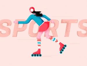 AI+PS绘制扁平滑轮少女风格插画