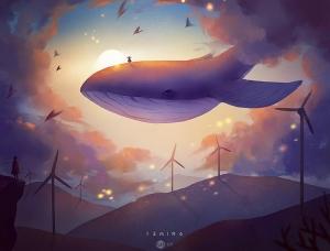 梦幻插画作品《日出》创作过程