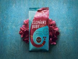 南亚风情的大象插画 日本tully's coffee咖啡包