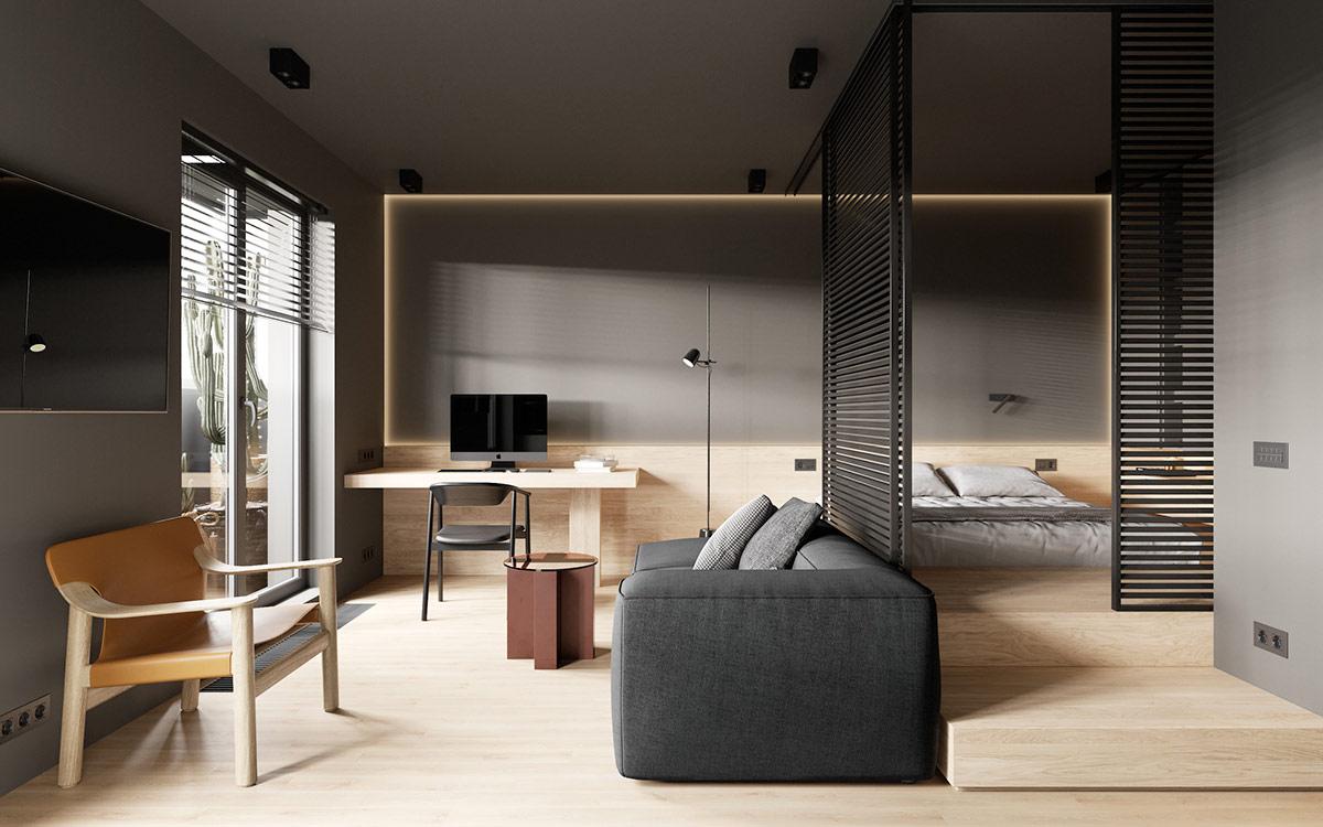 小空间的有效利用:圣彼得堡38平米单身小公寓