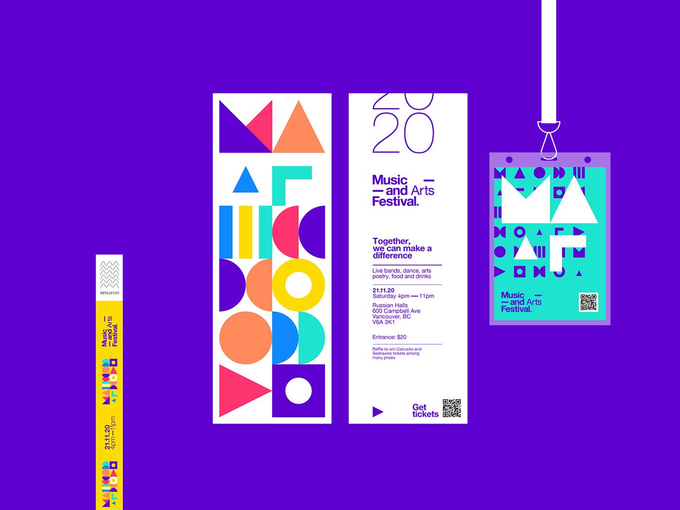 抽象的几何图案和时尚的色彩:音乐艺术节品牌视觉设计