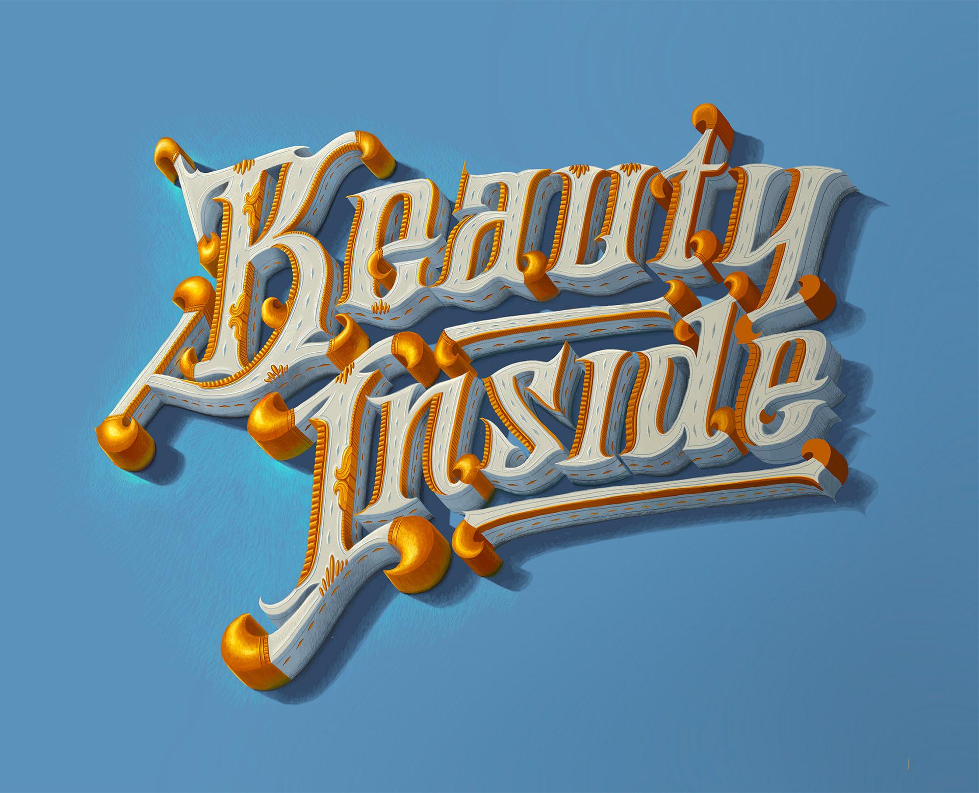 精致的细节和超赞的纹理 Biksence Nguyen惊人的3D字体设计