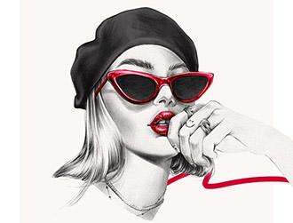 Ewelina Dymek时尚人物铅笔插画