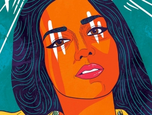 巴基斯坦艺术家Amara Sikander女性人物肖像插画