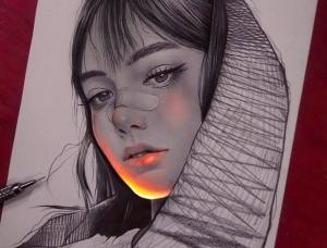 梦幻般的荧光效果:Enrique Bernal铅笔肖像插画