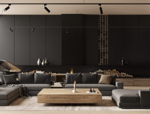 酷黑搭配木质色调:瑞典现代豪华公寓