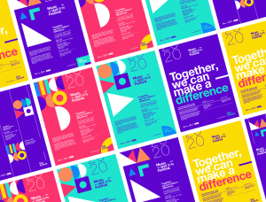 抽象的几何图案和时尚的色彩:音乐艺术节品牌