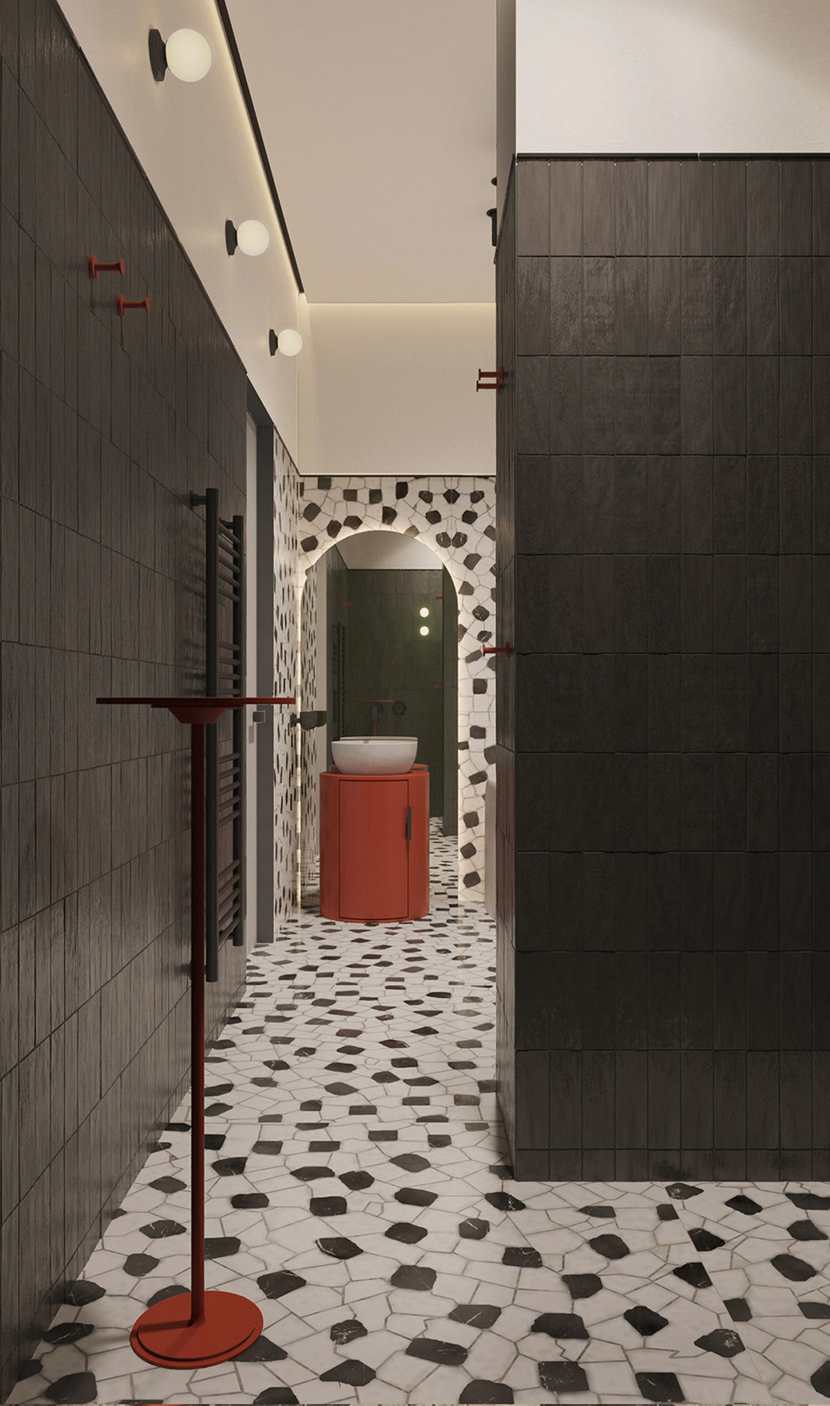红色点缀 基辅简约独特的现代住宅