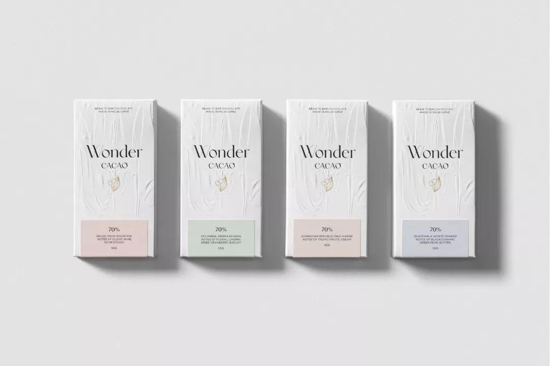 纯净的白色纹理 Wonder Cacao巧克力包装设计