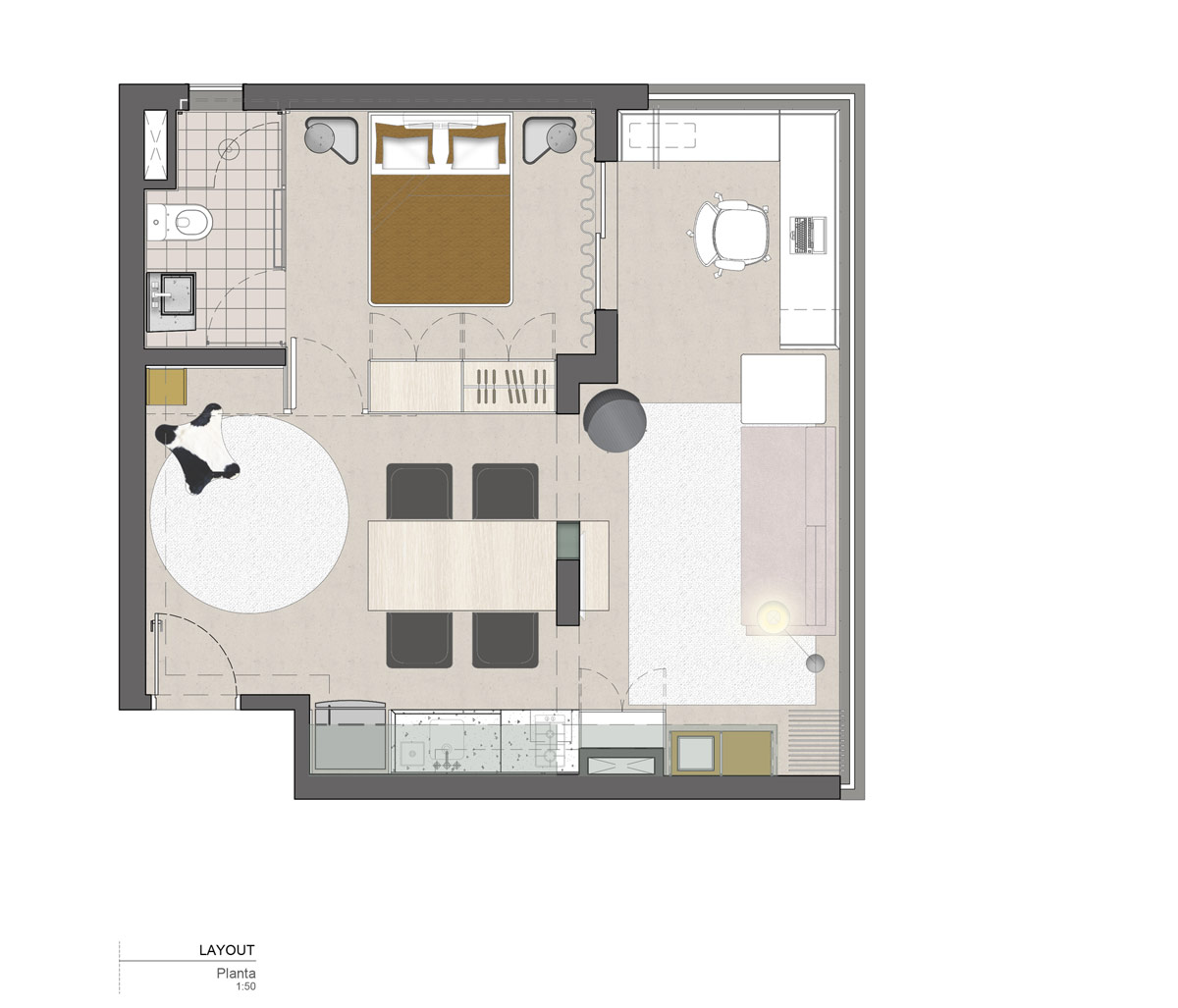 缤纷色彩的40平米现代时尚小宅