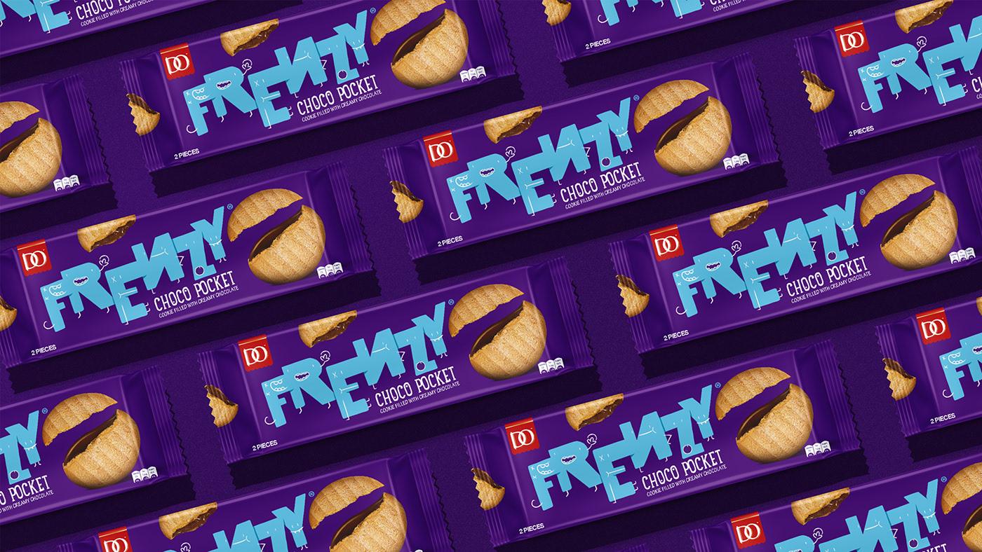 搞怪有趣的插图风格手绘 Frenzy饼干品牌包装