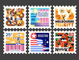 插画风格的世界城市主题邮票设计