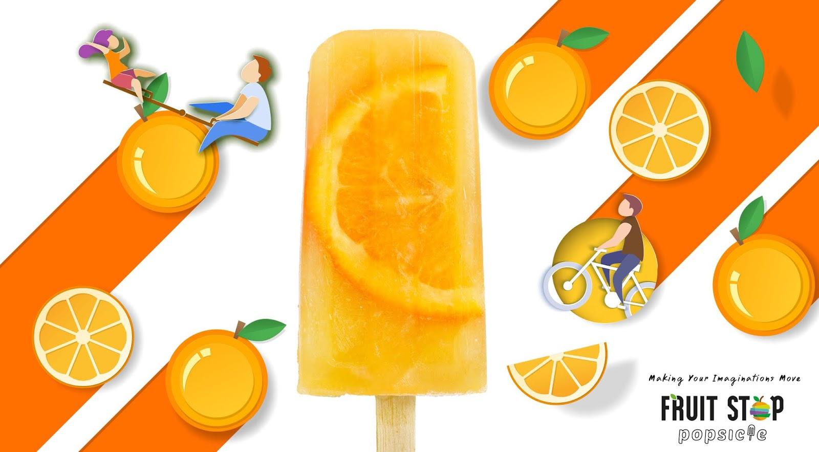清新口味的Fruit Stop冰棒包装设计