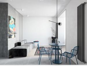 明亮的蓝和丰富的绿色元素:55平简约小公寓设计