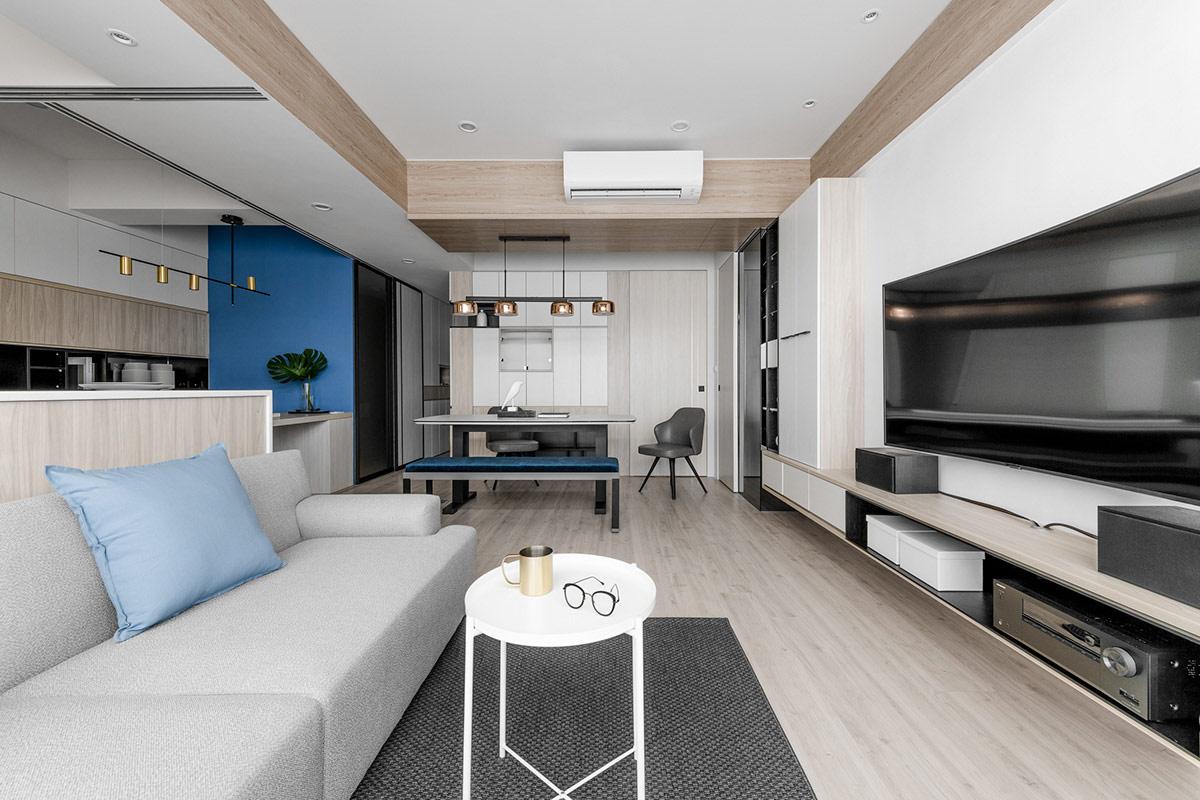 清新明媚!4间蓝色主题风格公寓设计