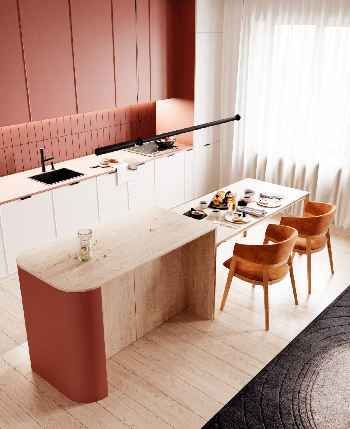 红+橙+金演绎奢华和休闲感:温暖又温馨的现代家居设计