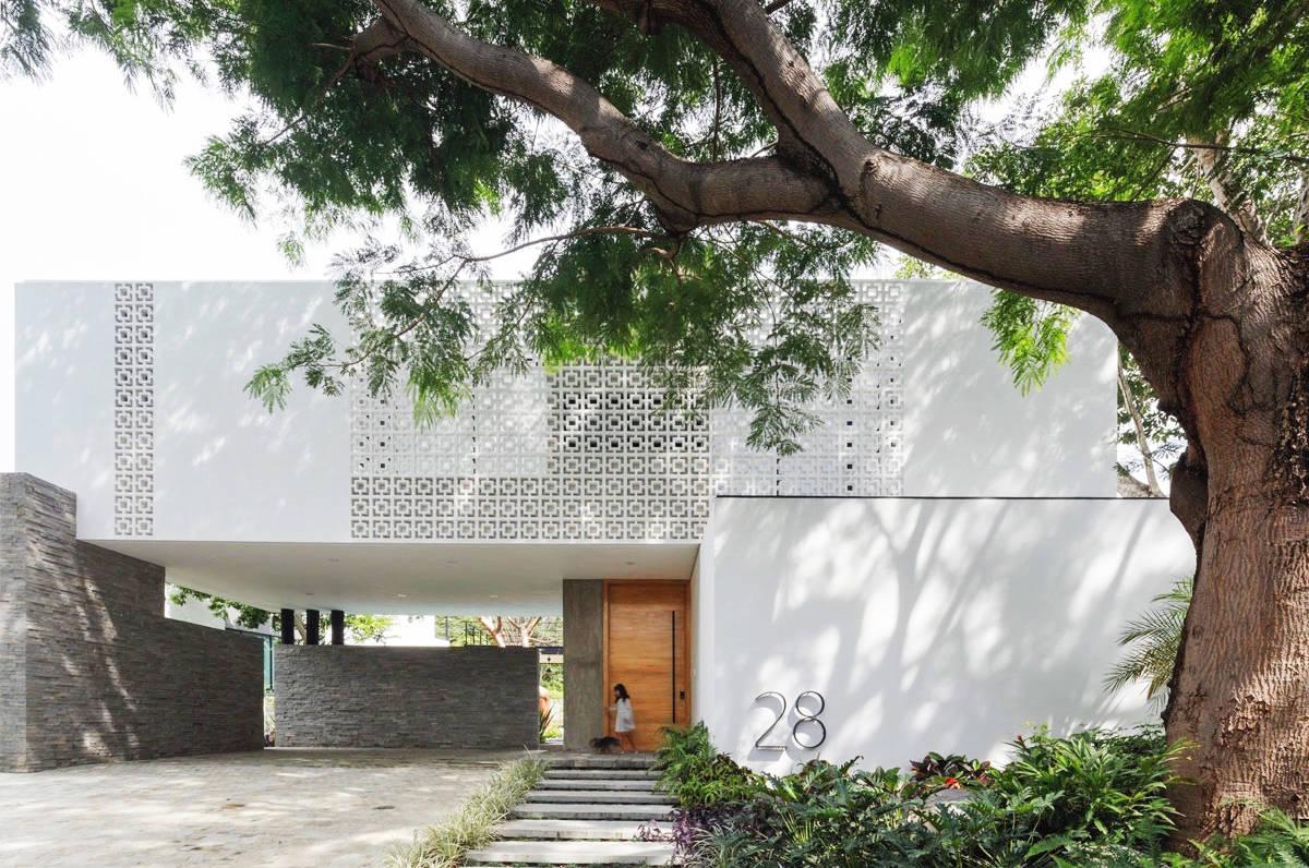 Papelillo树庭院!墨西哥纯白豪华别墅设计