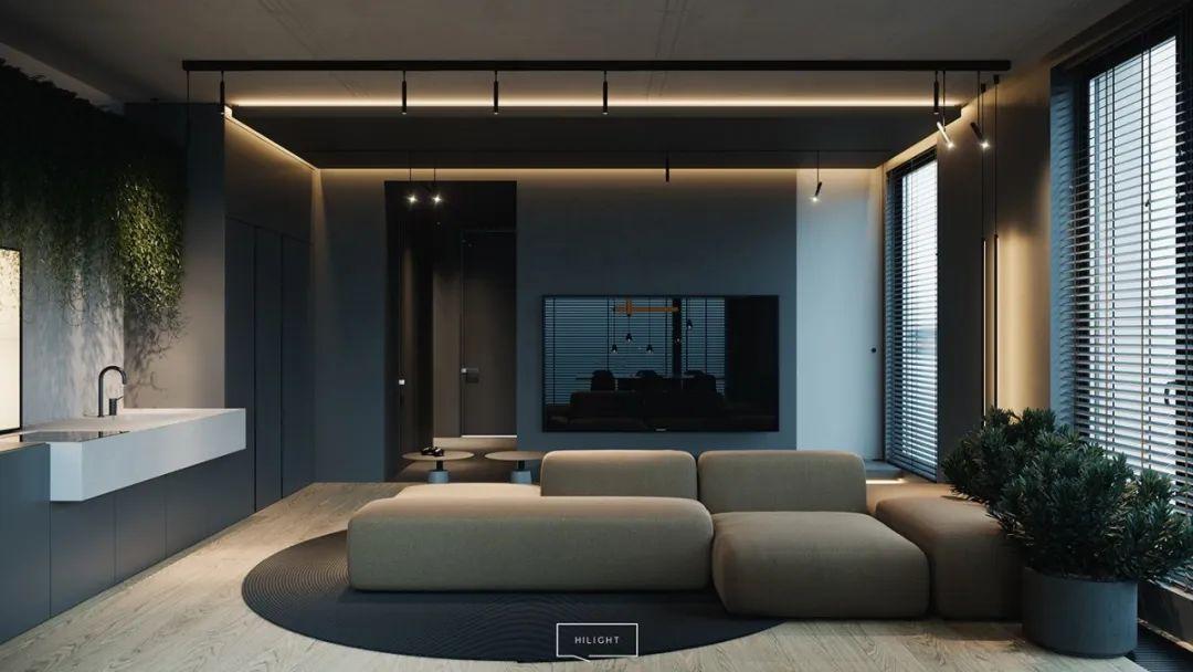 高级深色调!64平时尚单身小公寓