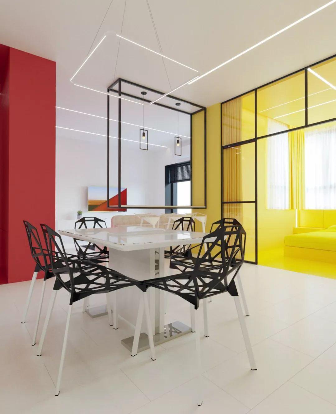 色彩玩出新高度!De Stijl风格派公寓设计