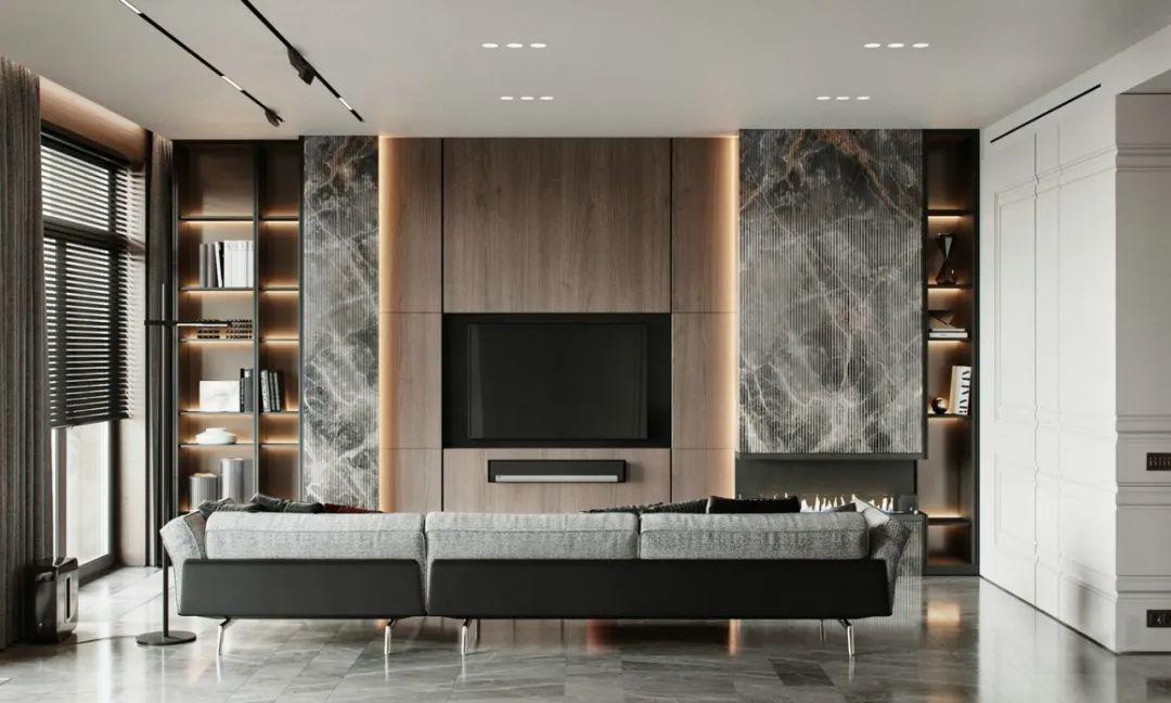 大理石和原木,打造充满现代感的简约风