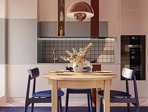 蓝+粉 小清新,70平时尚小公寓