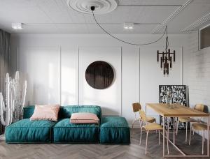 蓝绿和粉色!80平米现代质朴公寓