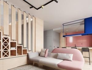 柔和舒缓!粉红+灰配色的家居设计