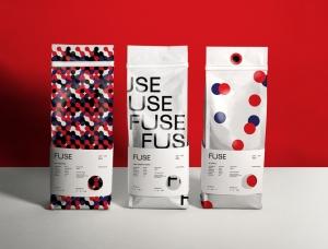 时尚红蓝圆点,FUSE咖啡品牌形象和包装设计