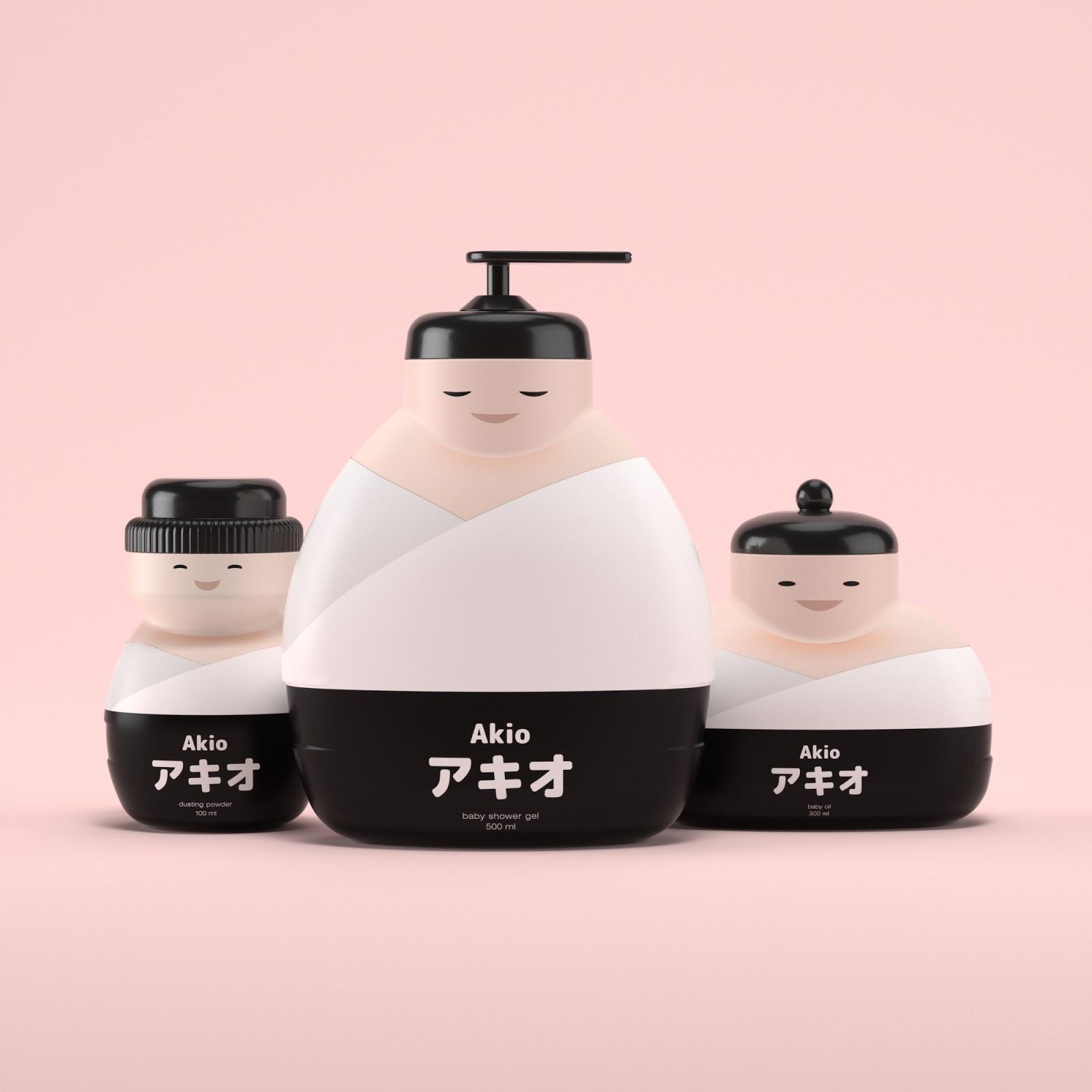 可爱和服人物!Akio日式儿童沐浴露包装设计