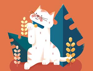 AI+PS画可爱的招财猫插画Banner