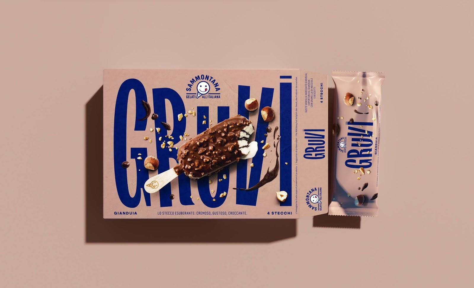 大字体和时尚配色带来的视觉冲击力!Sammontana Gruvi冰棒包装设计