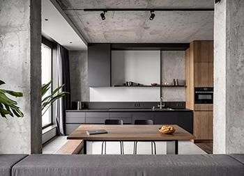 灰色+木质元素!Rybalsky工业风格现代公寓w88手机官网平台首页