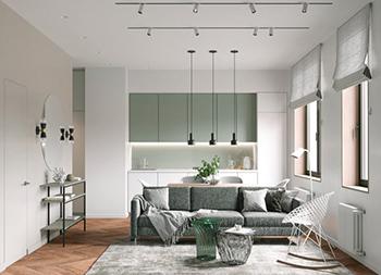 浅绿色调的安宁平和感!3间现代简约公寓畅博官网手机app
