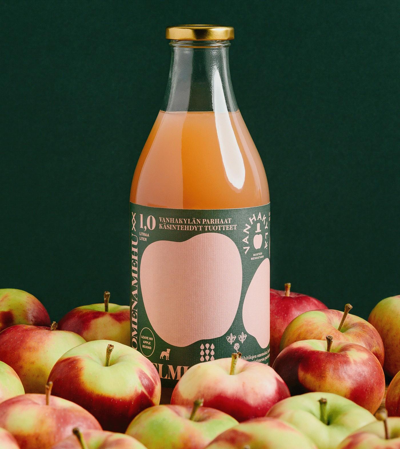 简约的水果图形!Vanhakylä果汁包装设计
