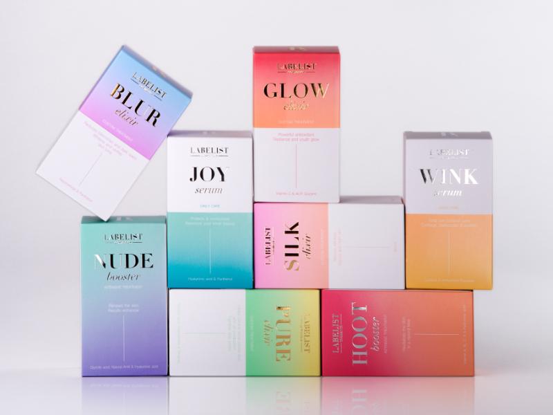 迷人渐变+金色,Labelist化妆品包装设计