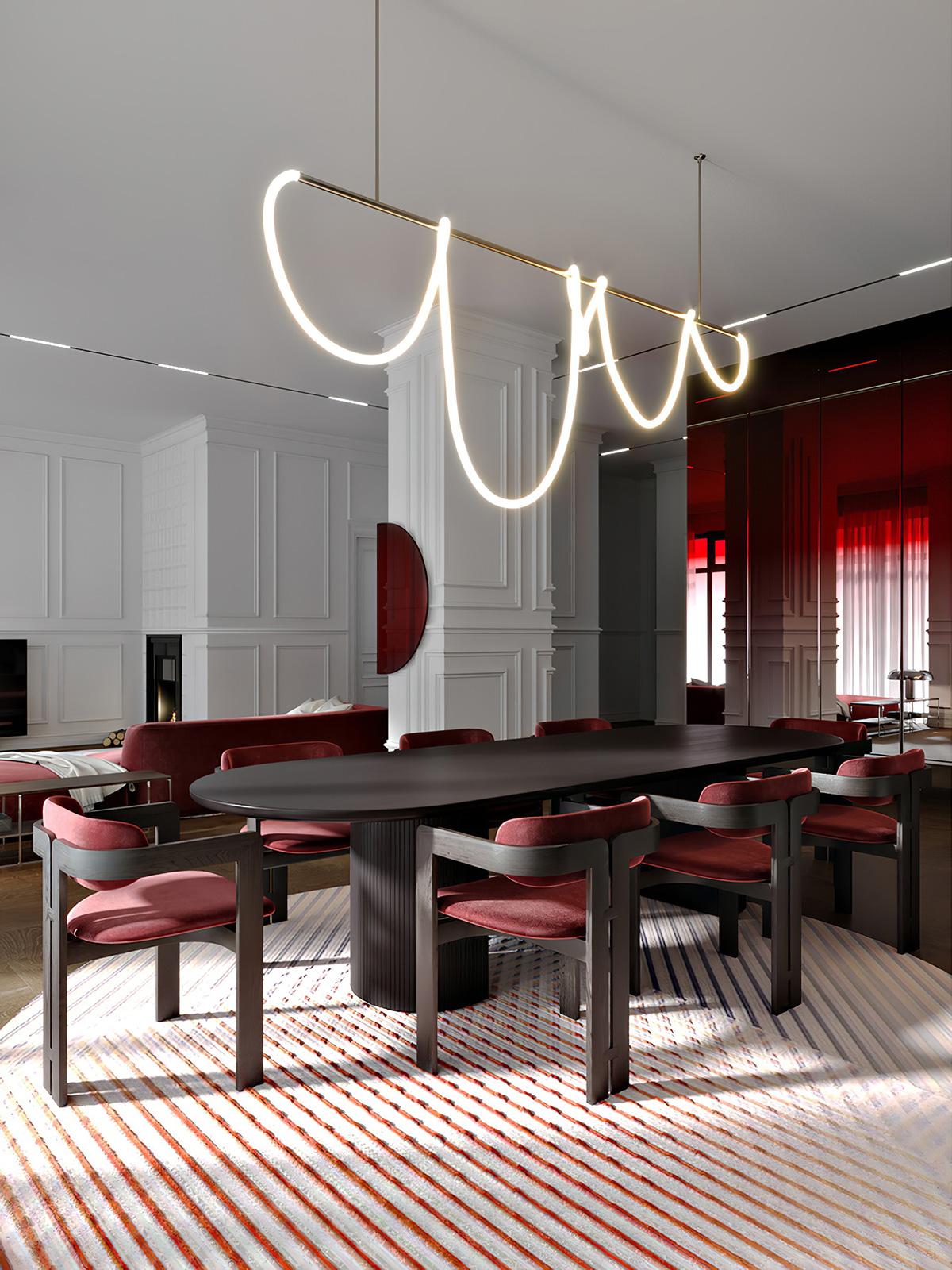 热情似火的红!50个红色系家居餐厅设计