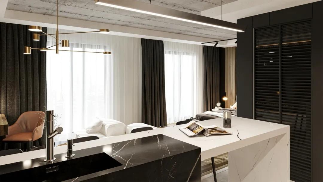 高级品质生活!36平黑色系公寓