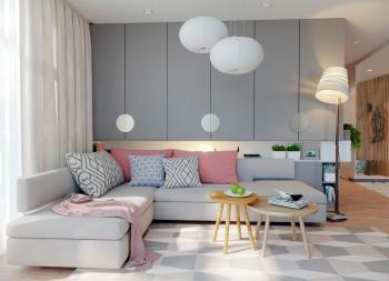 柔和的灰和糖粉色,精致舒适的美丽家居空间