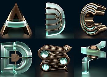 Mark Schwindt:充满质感的黄铜和玻璃字体设计