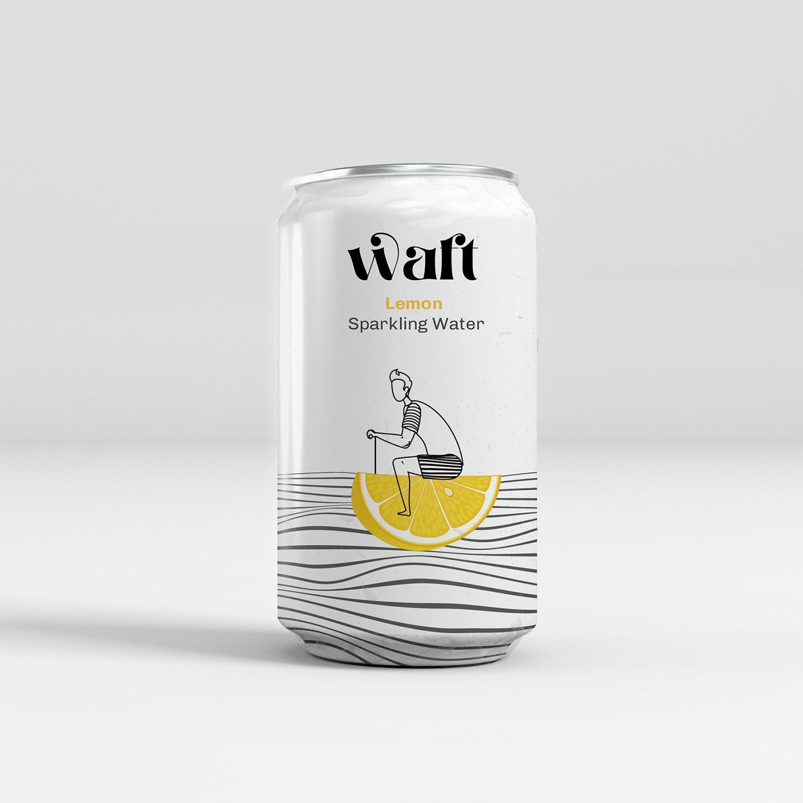 水果元素与线条插画结合!WAFT风味苏打水包装设计