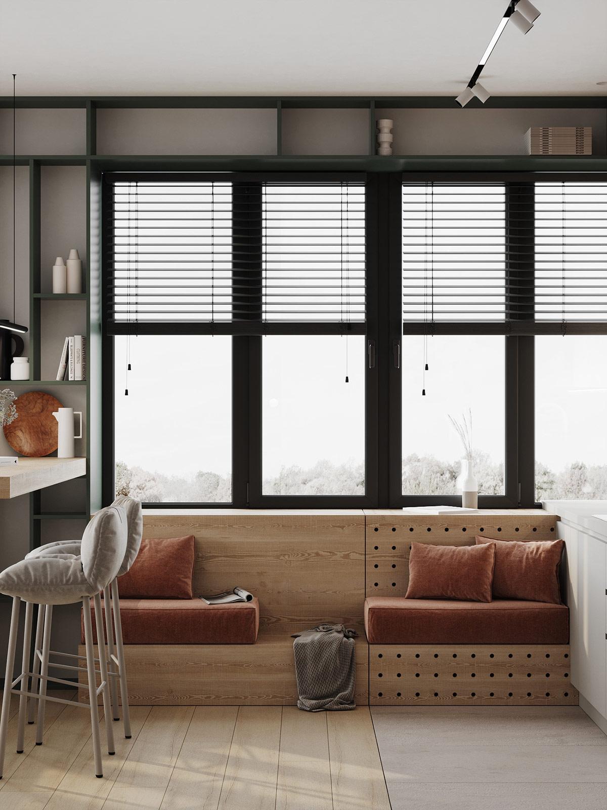 褐色+绿色,别致的现代感! 1居室也高端