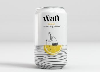 水果元素与线条插画结合!WAFT风味苏打水包装
