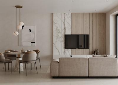 白色大理石和木质装饰营造温馨的现代家居空间