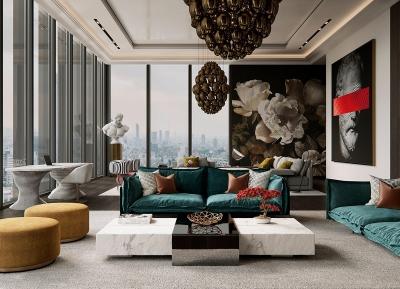 古典艺术和雕塑营造艺术感的现代住宅空间