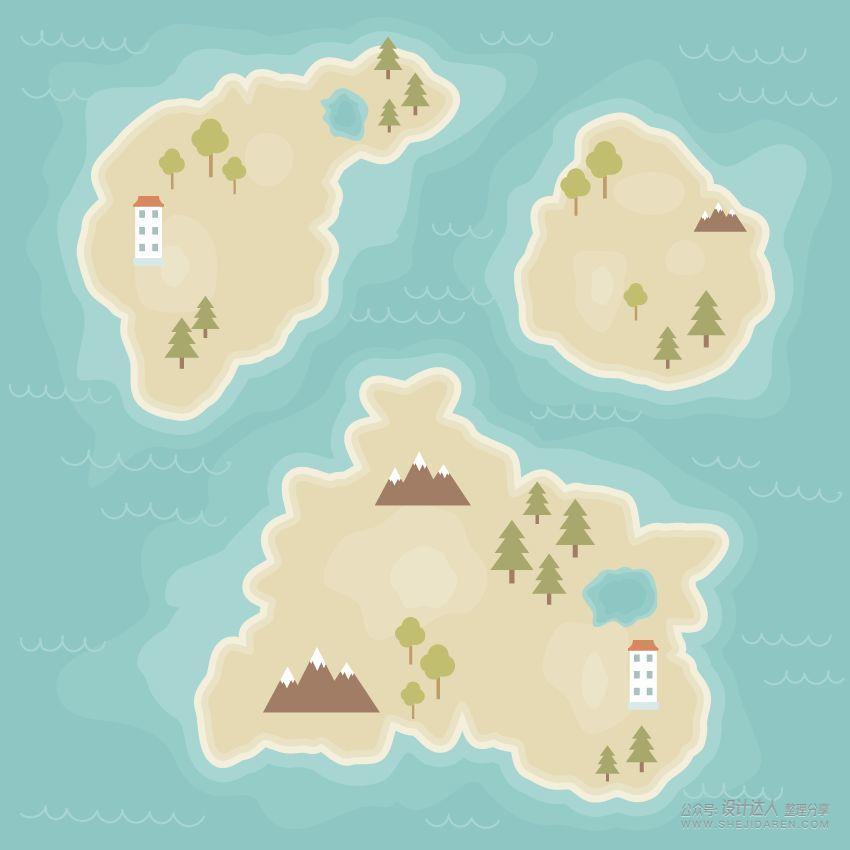 AI绘制矢量卡通地图
