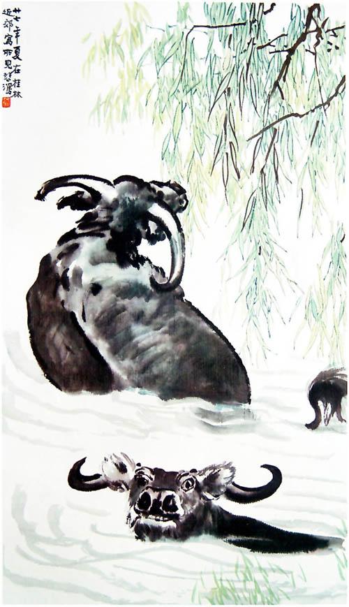 徐悲鸿国画 牛浴设计图; 特别关注之徐悲鸿2:狮子和牛 - 大镛艺术山庄